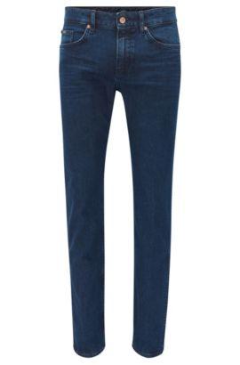 Jeans slim fit indaco scuro in denim elasticizzato adatto al lavaggio medio, Blu scuro