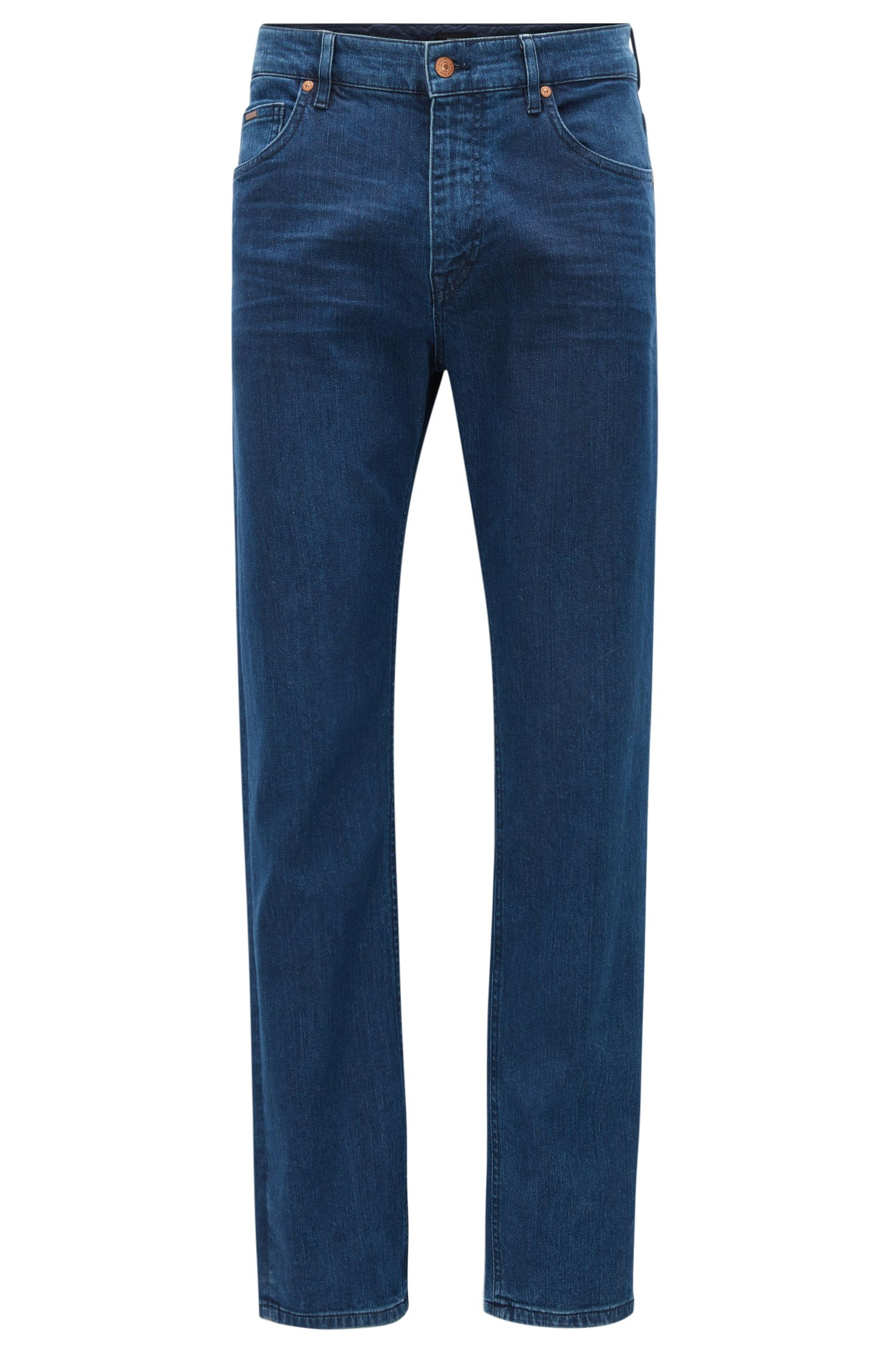 Relaxed-fit dark indigo jeans in washed stretch denim