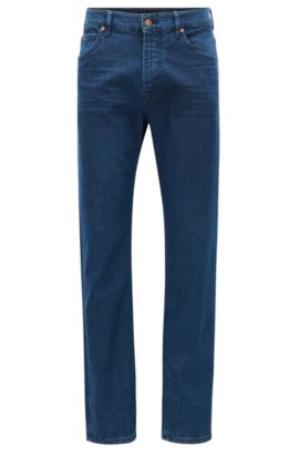 Jeans relaxed fit indaco scuro in denim elasticizzato slavato, Blu scuro