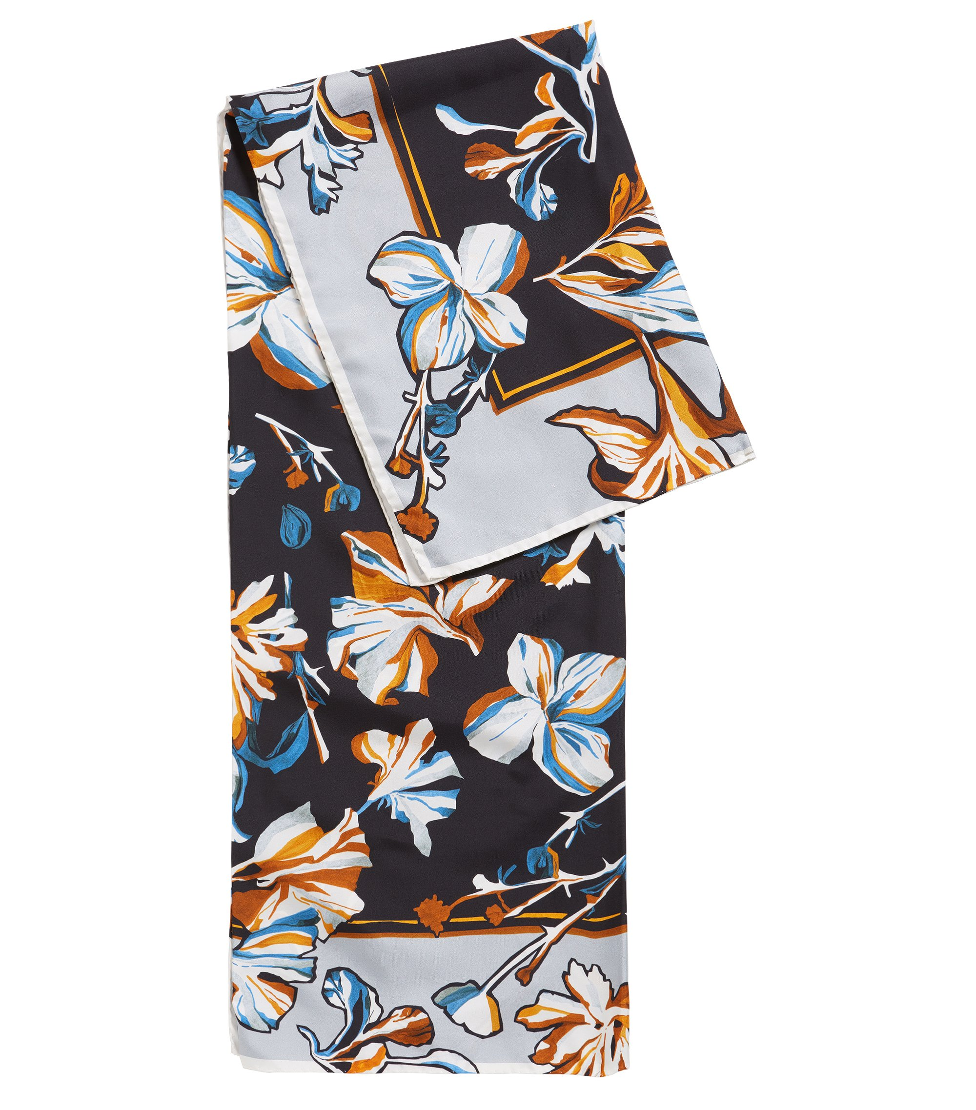 Silk scarf with hand-painted flowers, Patterned
