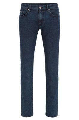 Slim-fit light-wash jeans in stretch denim, Dark Blue