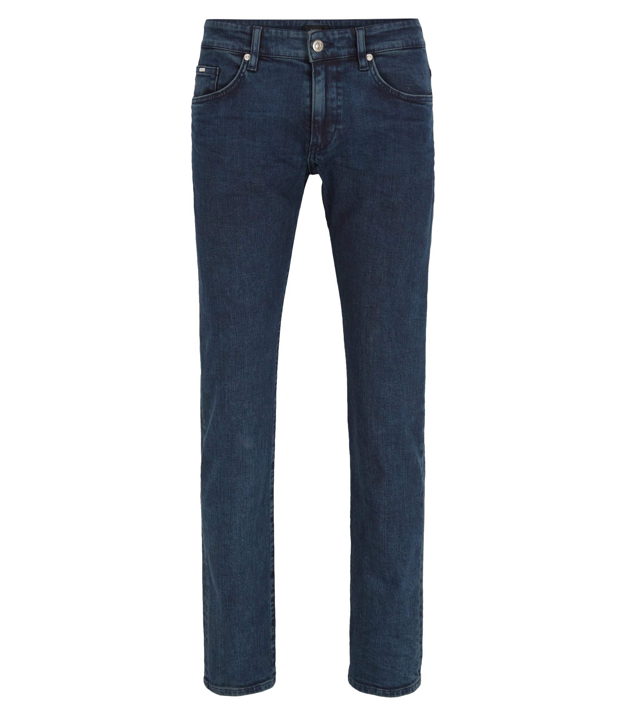 Slim-fit light-wash jeans in stretch denim, Dark Blue