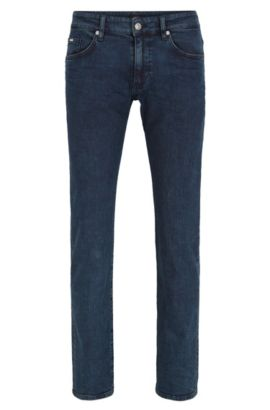 Slim-fit light-wash jeans in stretch denim, Bleu foncé