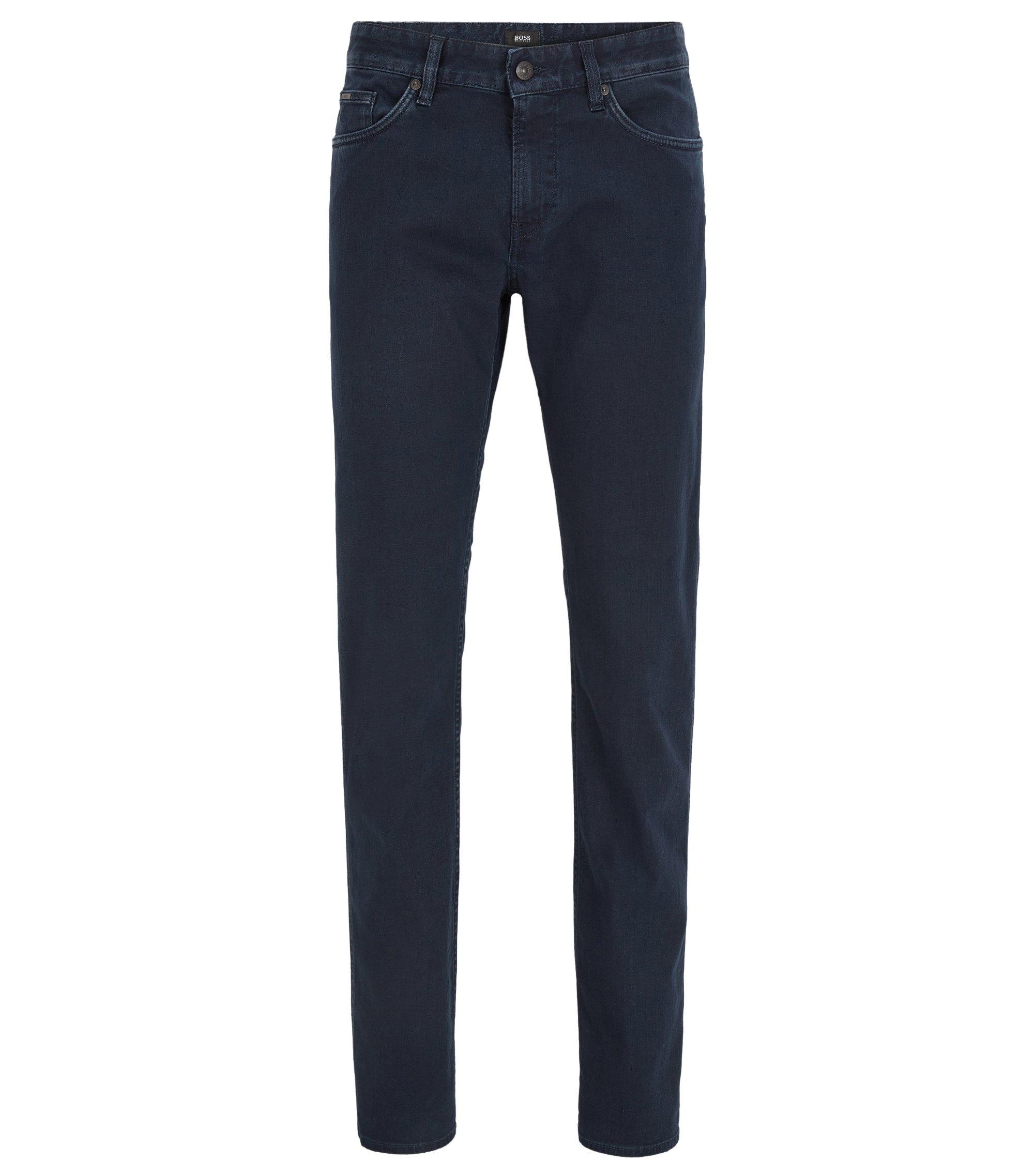 Dark blue slim-fit jeans in rinsed stretch denim, Dark Blue