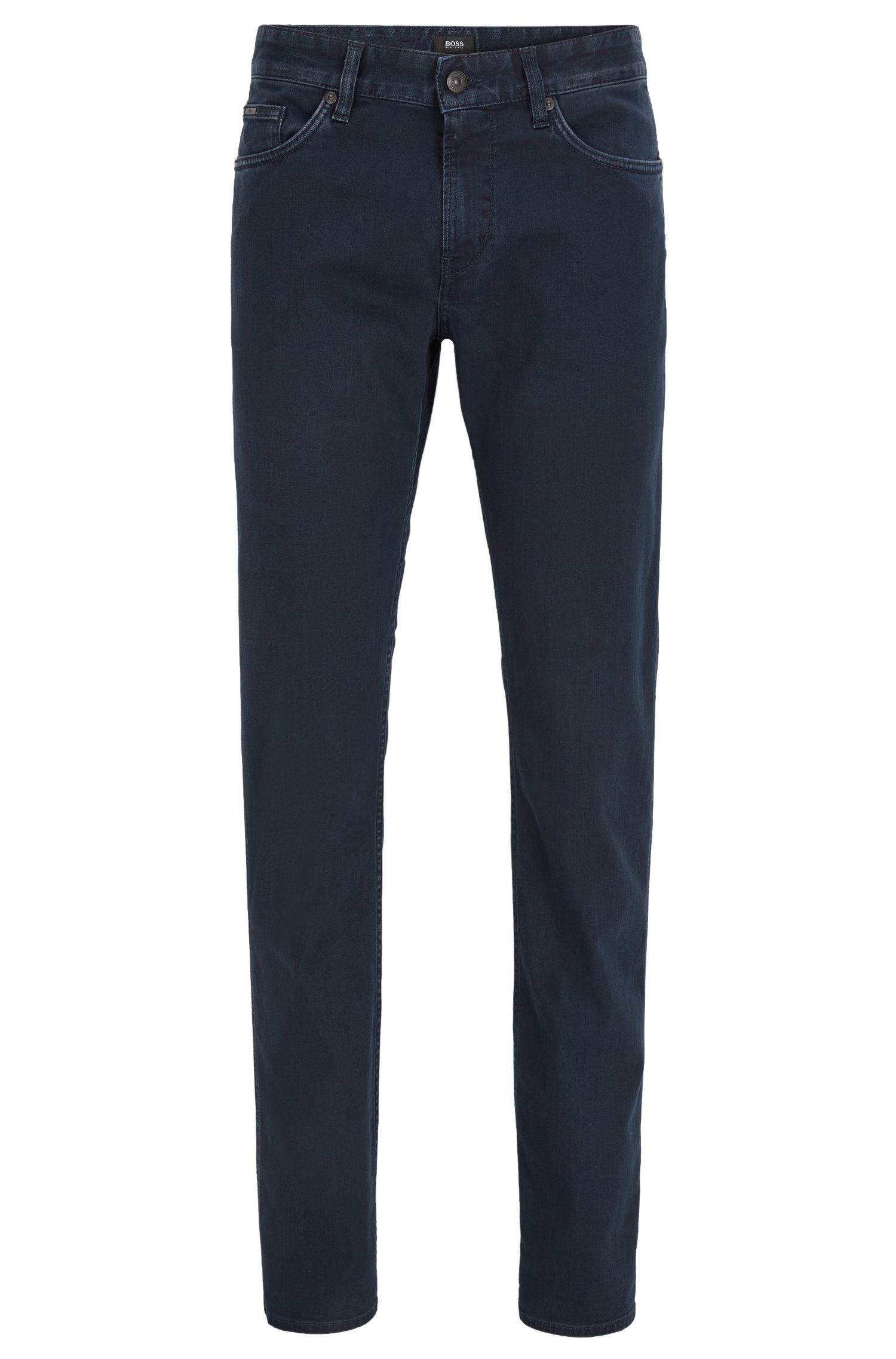 Dark blue slim-fit jeans in rinsed stretch denim