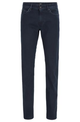 Dark blue slim-fit jeans in rinsed stretch denim, Dark Blue