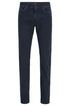 Jeans Slim Fit bleu foncé en denim délavé stretch, Bleu foncé