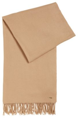 Brushed virgin wool-blend scarf with metal logo plate, Light Brown