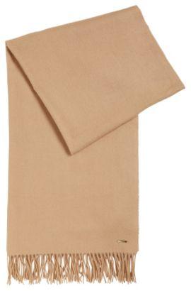 Écharpe en laine vierge mélangée à logo métallique, Brun chiné