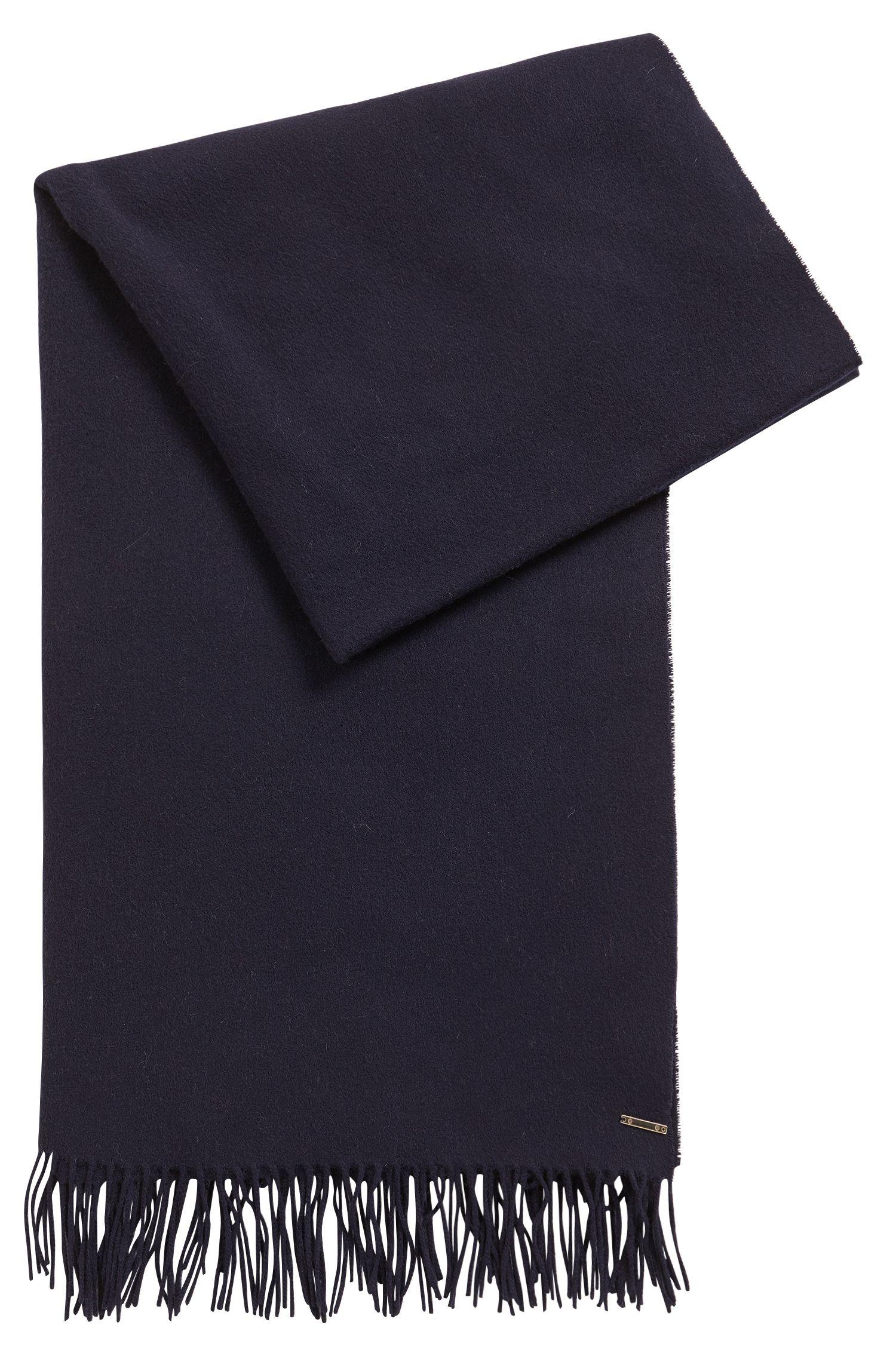 Virgin wool-mix scarf with metallic logo
