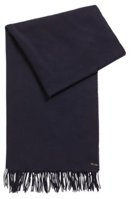 Virgin wool-mix scarf with metallic logo, Dark Blue