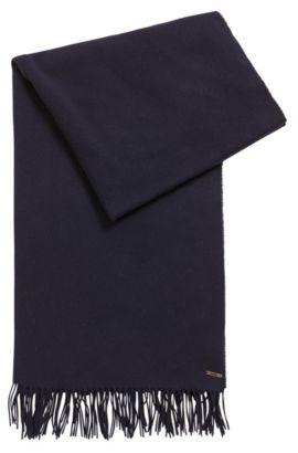 Écharpe en laine vierge mélangée à logo métallique, Bleu foncé