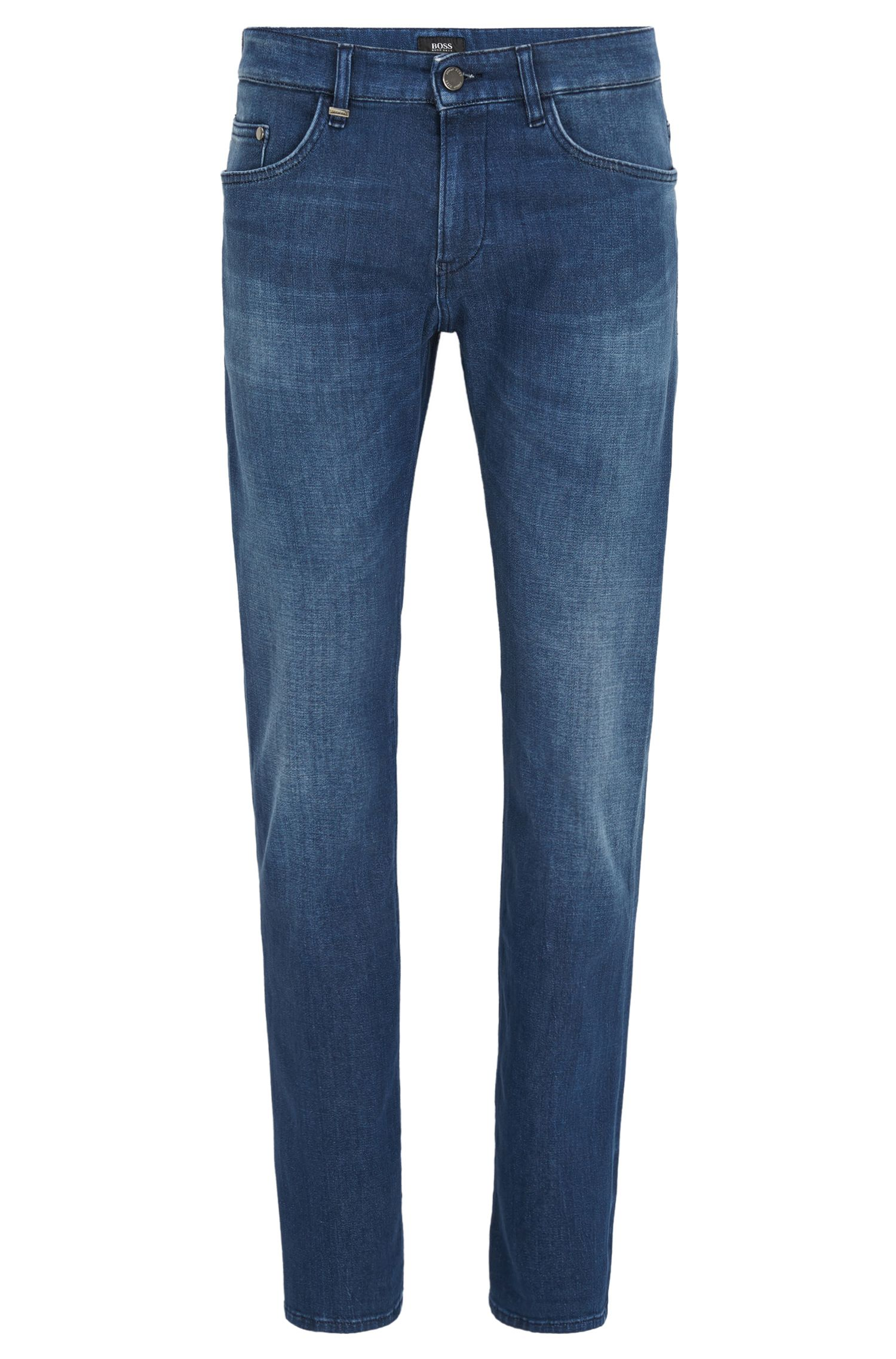 Jeans Slim Fit en denim italien stretch bleu moyen
