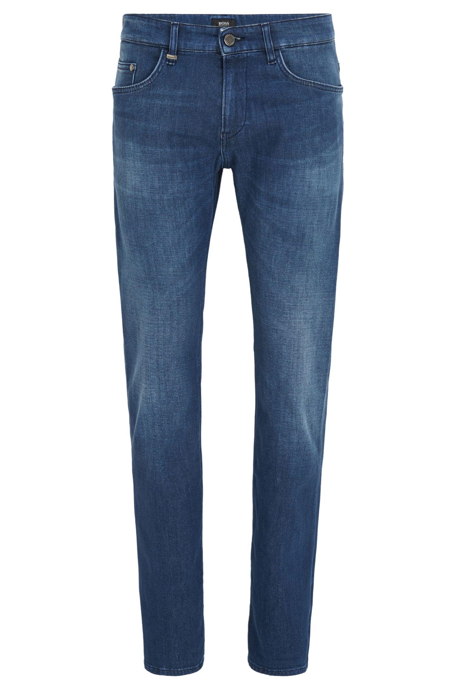 Slim-fit jeans van Italiaans, middelblauw, gewassen stretchdenim