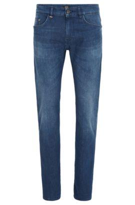 Slim-fit jeans van Italiaans, middelblauw, gewassen stretchdenim, Blauw