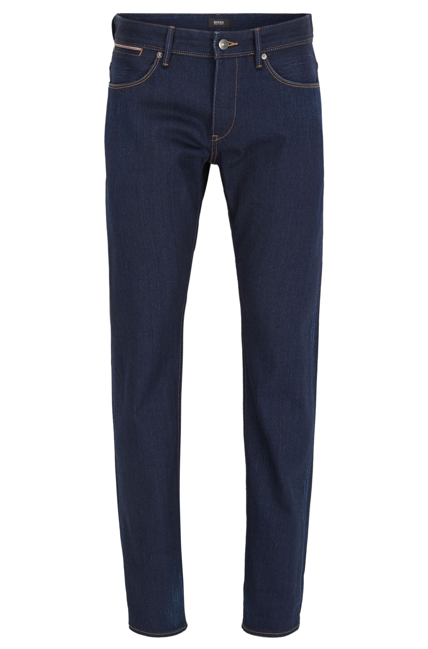 Jeans slim fit blu scuro in denim con cimosa