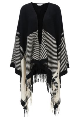 Graphic-pattern wool-blend poncho with fringed ends, Patterned