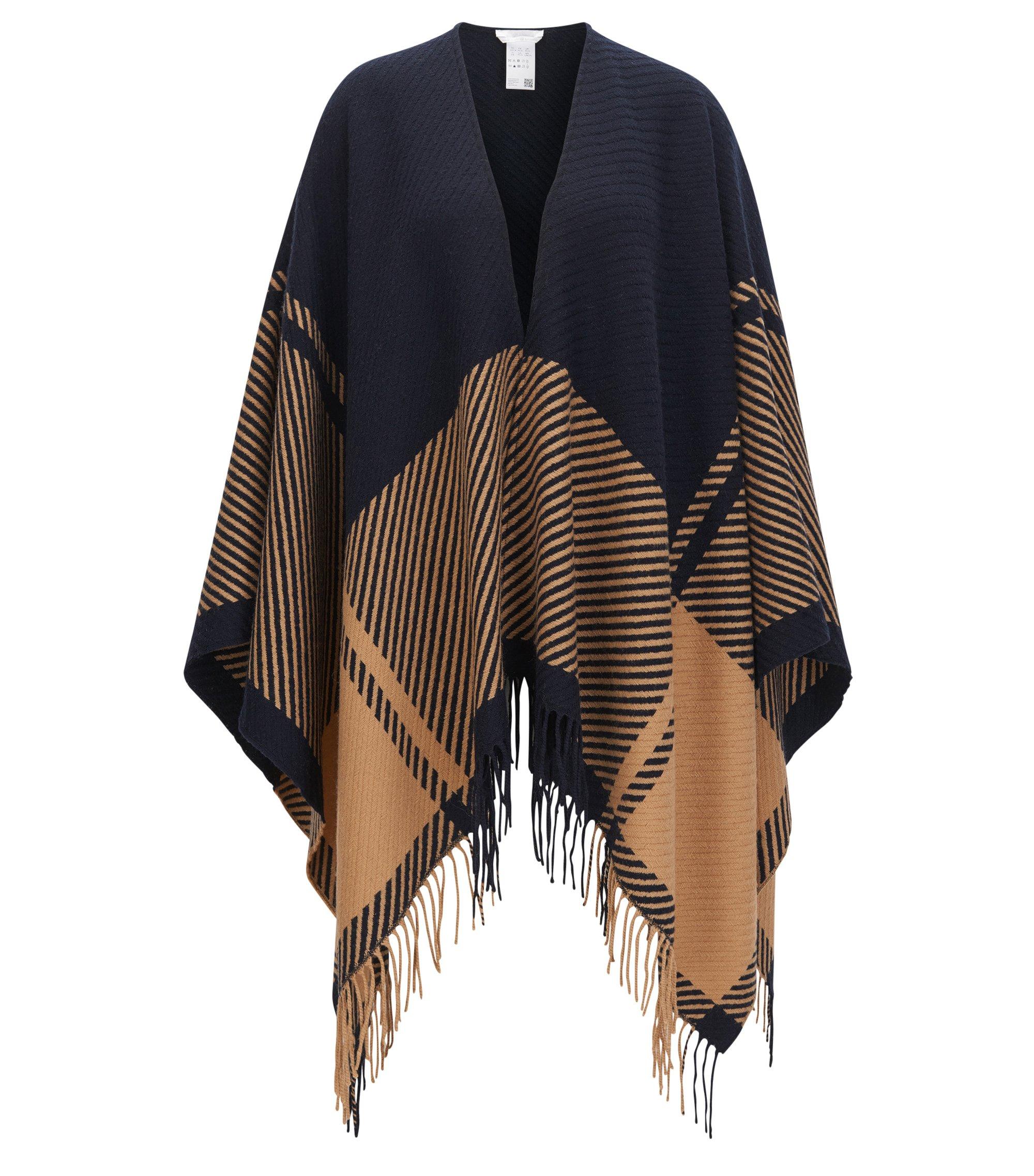 Poncho in misto lana con motivo grafico e frange alle estremità, A disegni
