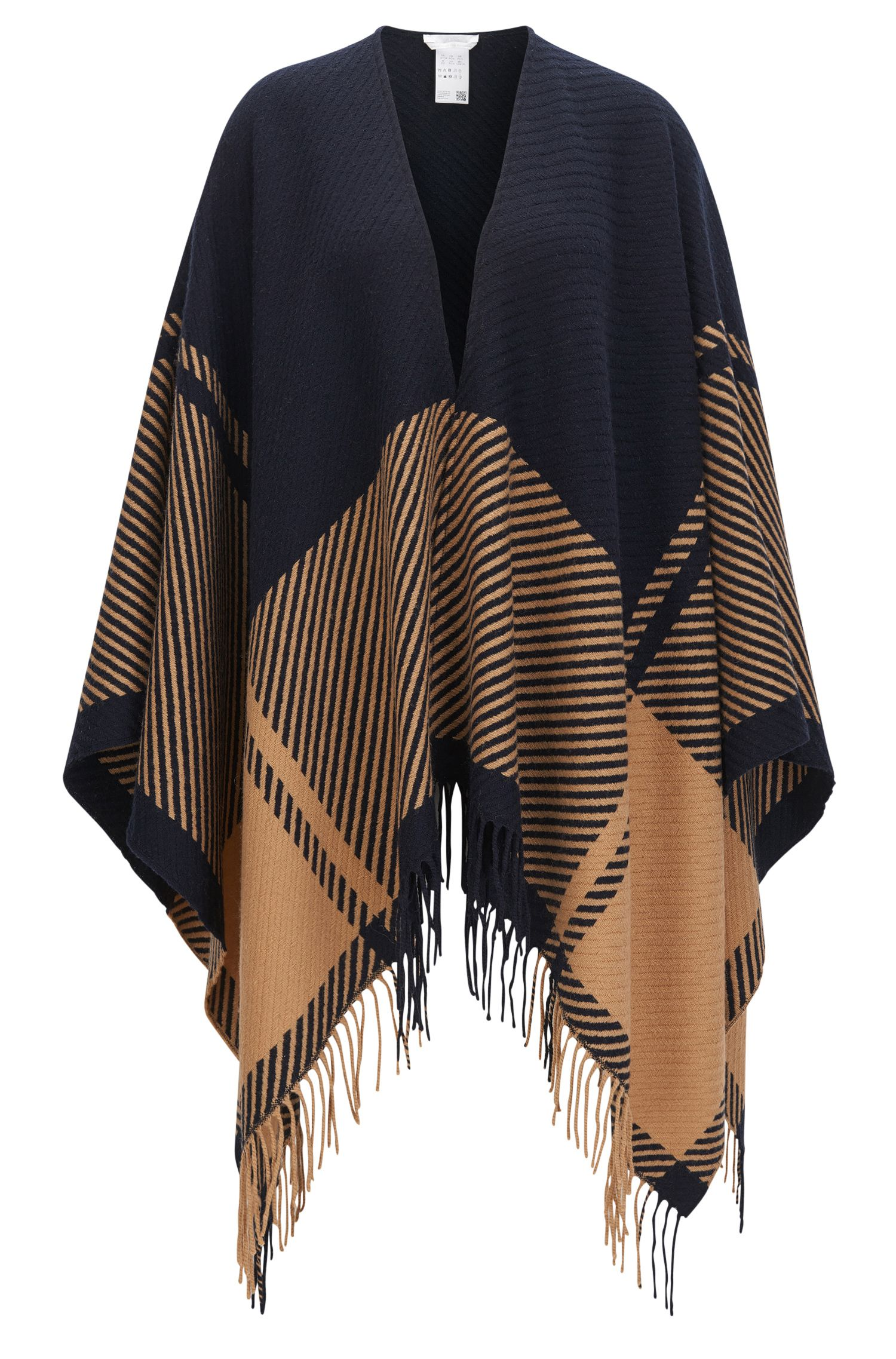 Graphic-pattern wool-blend poncho with fringed ends