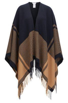 Poncho en laine mélangée, à motif graphique et franges, Fantaisie