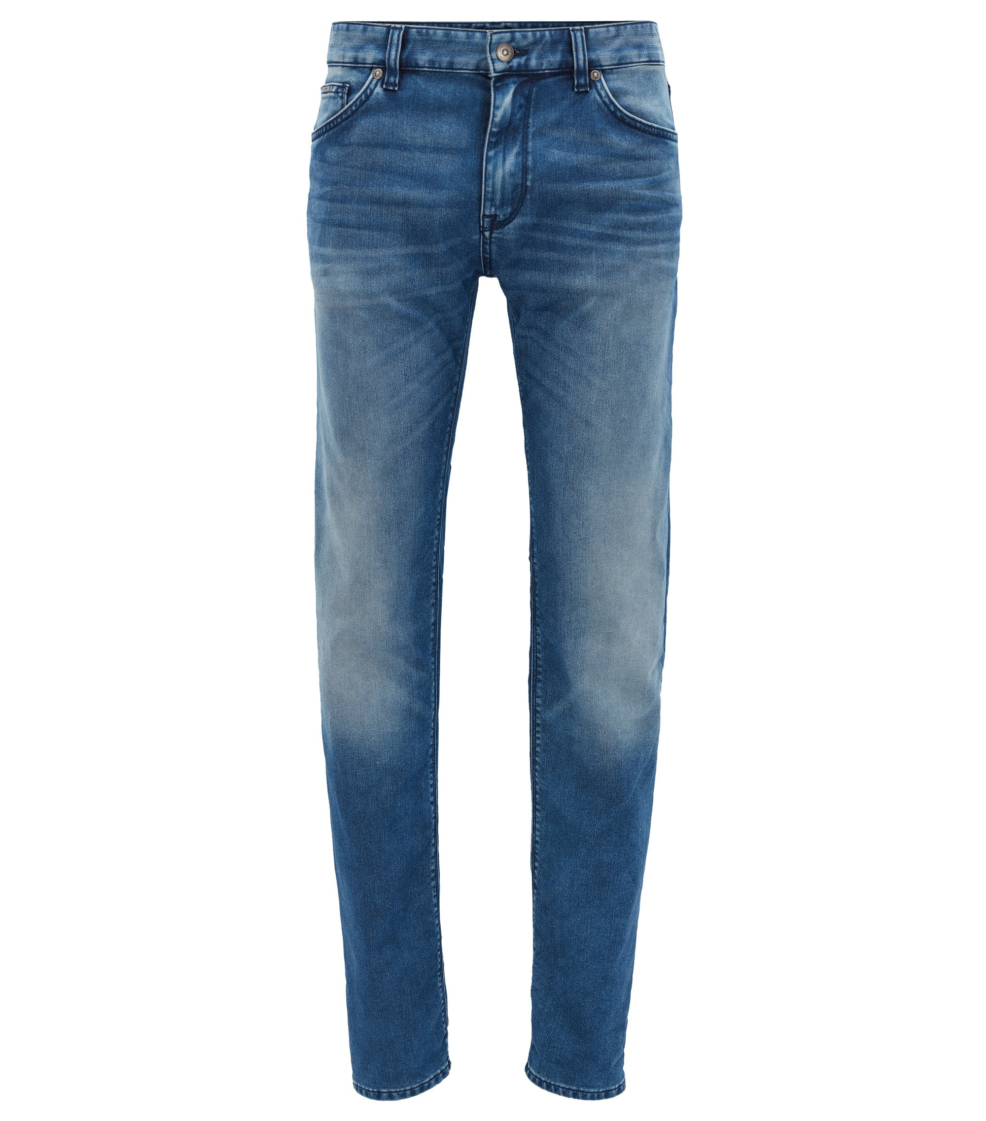 Dark-blue regular-fit stretch denim jeans with used finish, Blue