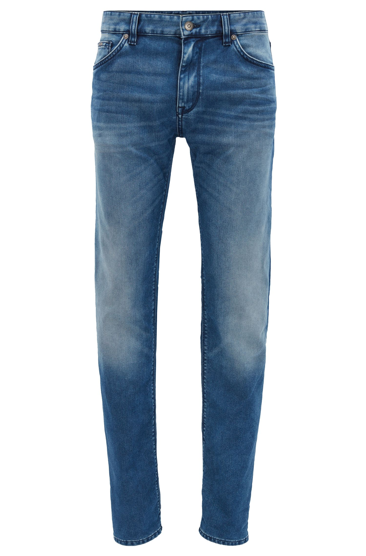 Regular-fit jeans van donkerblauw stretchdenim met used-finish
