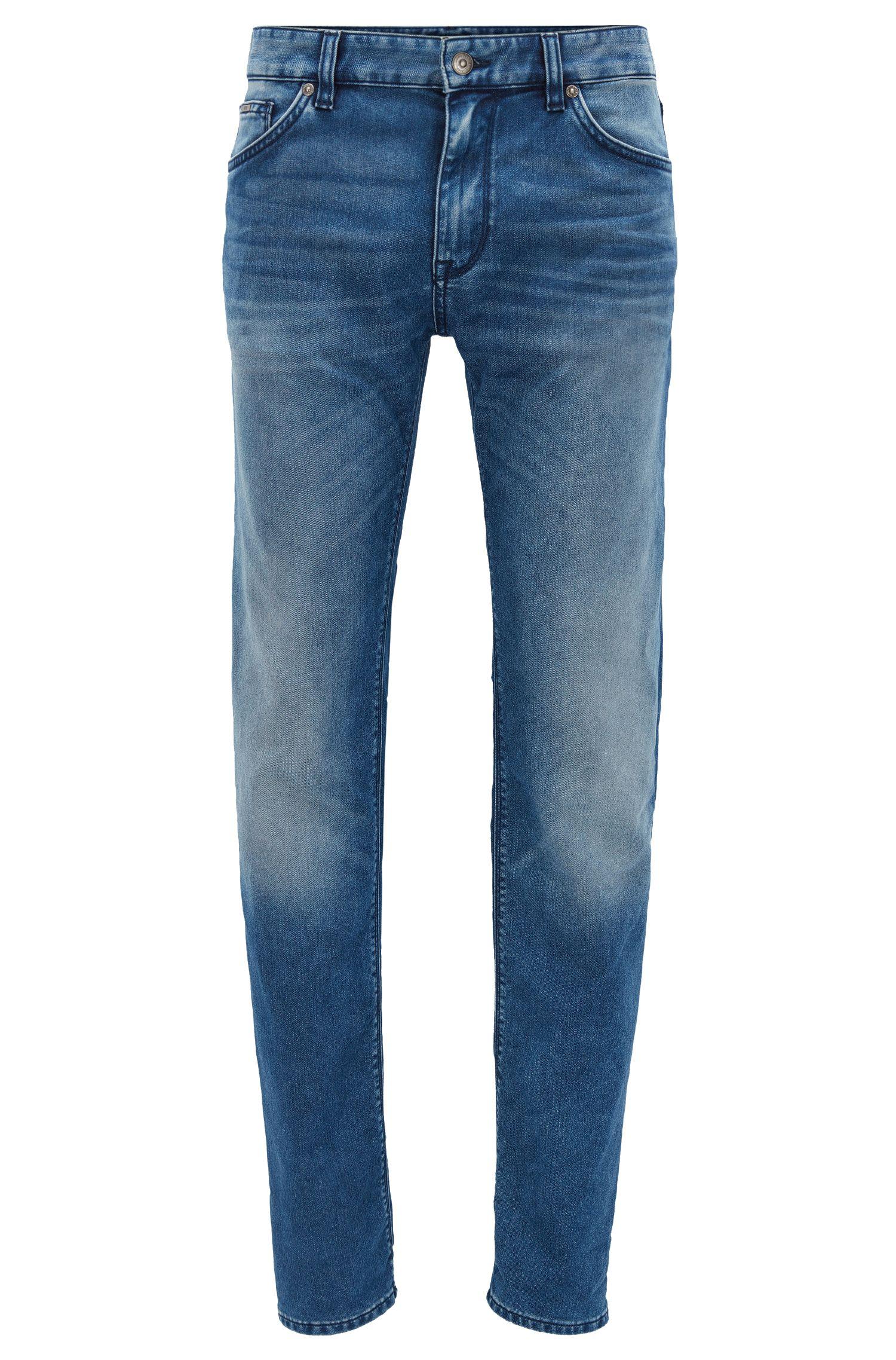 Regular-fit jeans van donkerblauw stretchdenim met used-finish