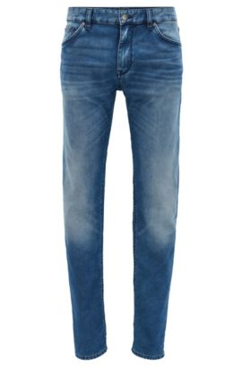 Dark-blue regular-fit stretch denim jeans with used finish, Blue