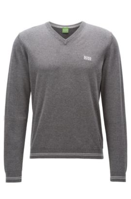 V-neck knitted sweater in cotton blend, Grey