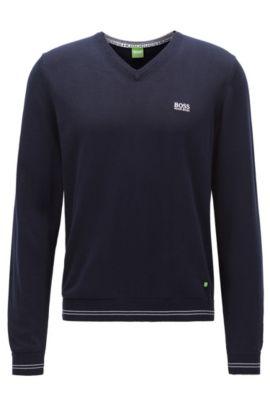 Jersey de cuello en pico en mezcla de algodón, Azul oscuro