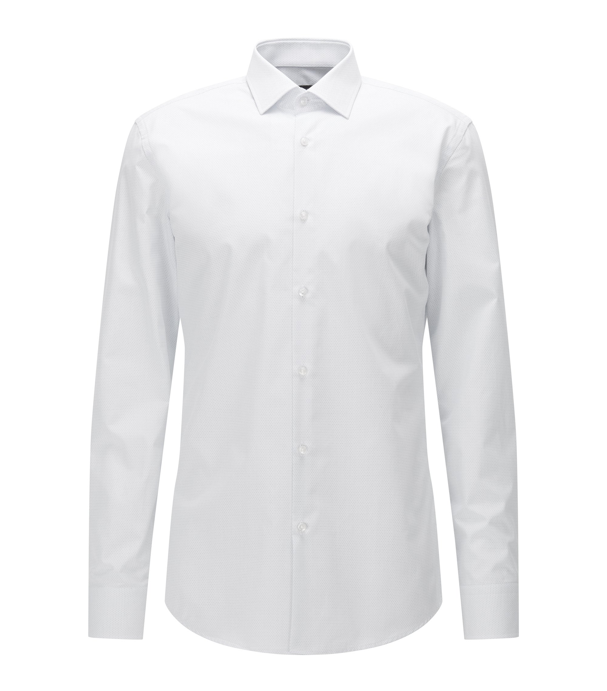 Camisa slim fit en popelín de algodón con micropuntos, Blanco
