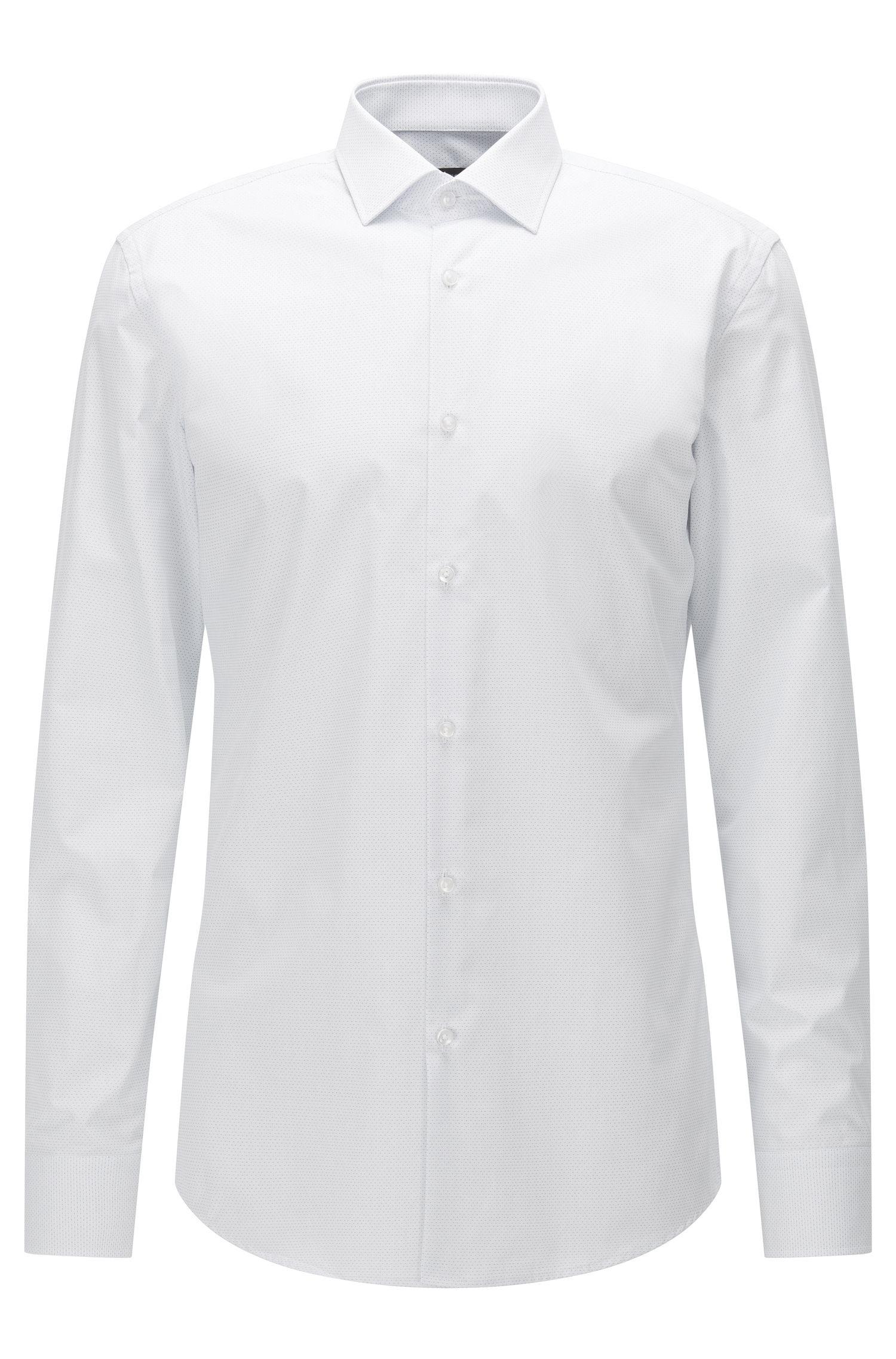 Camicia slim fit in popeline di cotone con micropois