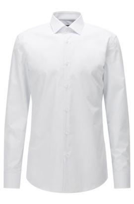 Chemise Slim Fit en popeline de coton à pois, Blanc