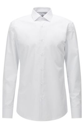 Slim-fit shirt in micro-dot cotton poplin, White