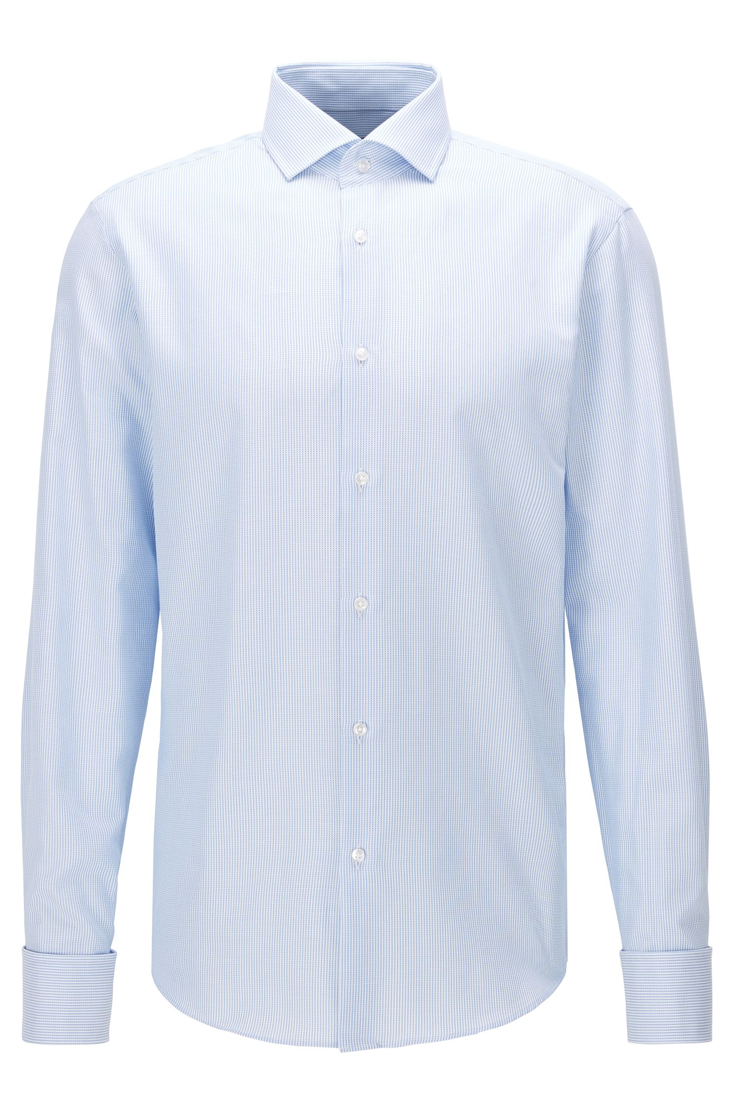 Camisa regular fit de algodón con puños dobles