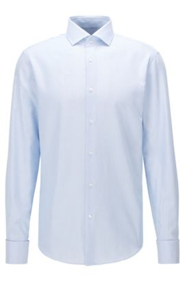 Regular-fit shirt in cotton with double cuffs, Light Blue