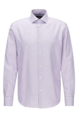 Regular-fit overhemd van katoen met dubbele manchetten, Lila