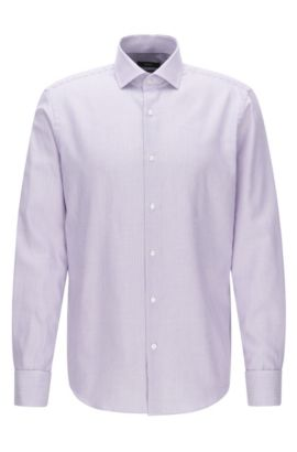 Regular-fit shirt in cotton with double cuffs, Purple