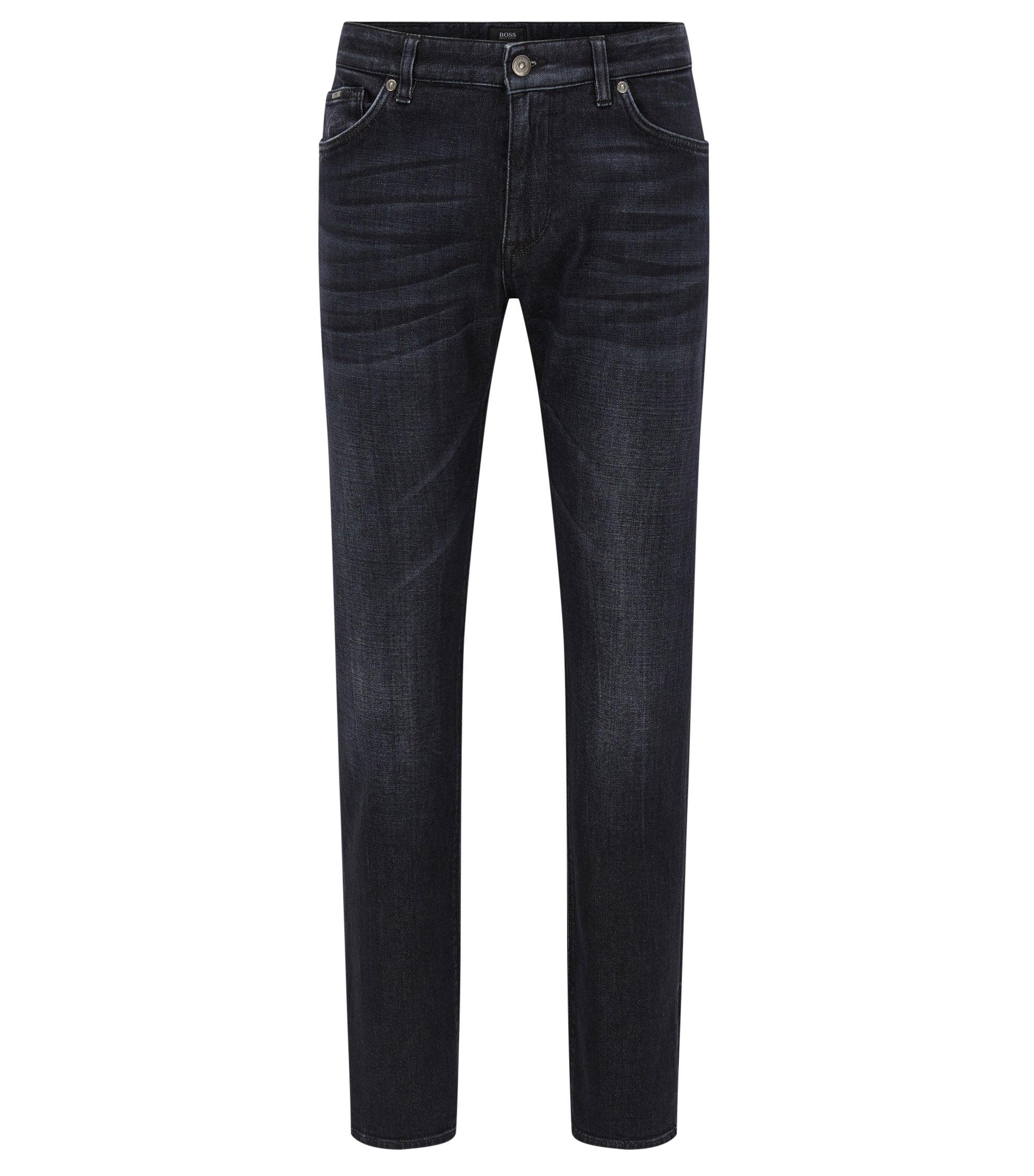 Jeans Regular Fit en denim noir au toucher cachemire, Anthracite