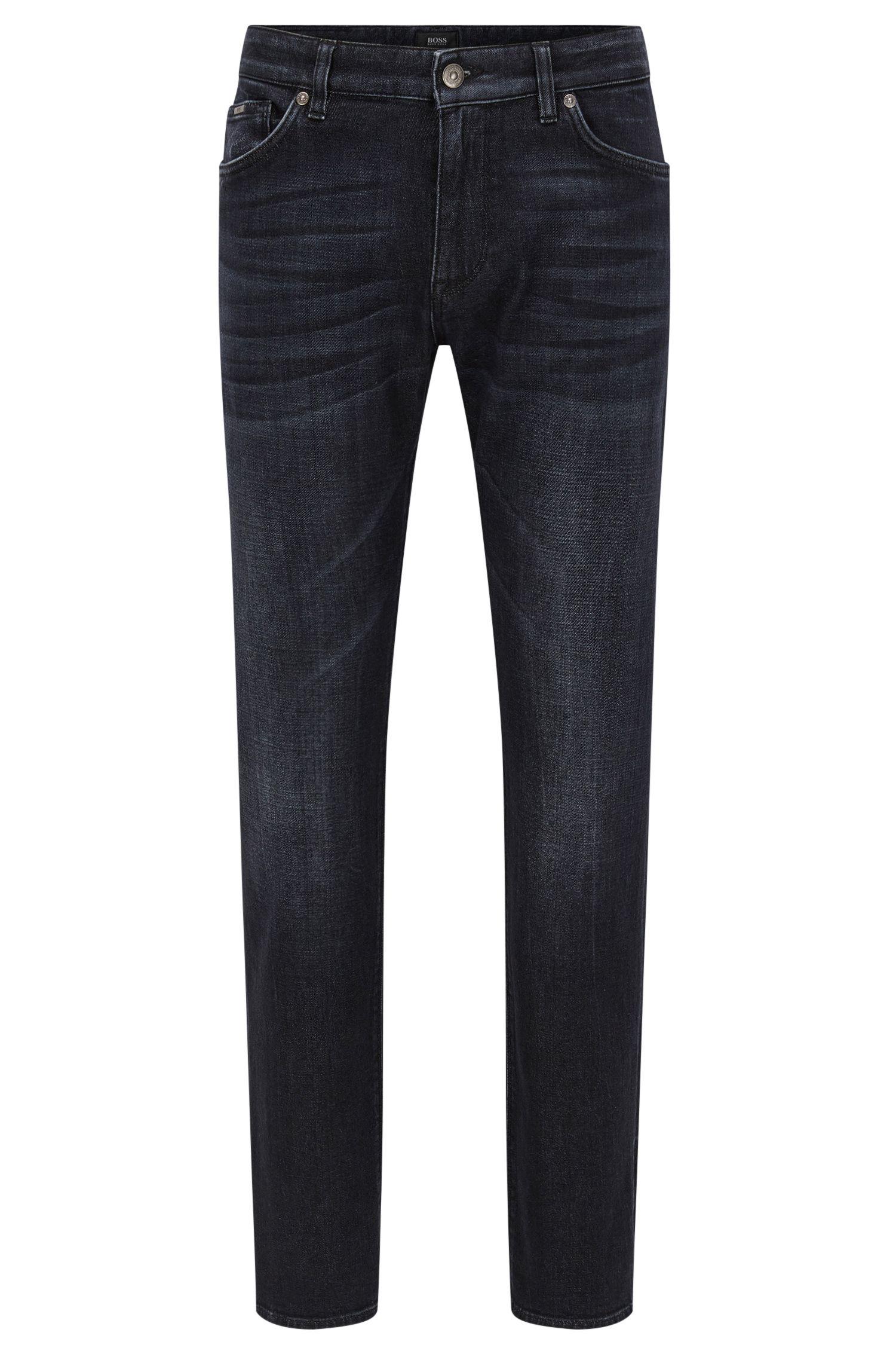Regular-fit jeans van zwart denim met kasjmierfeel