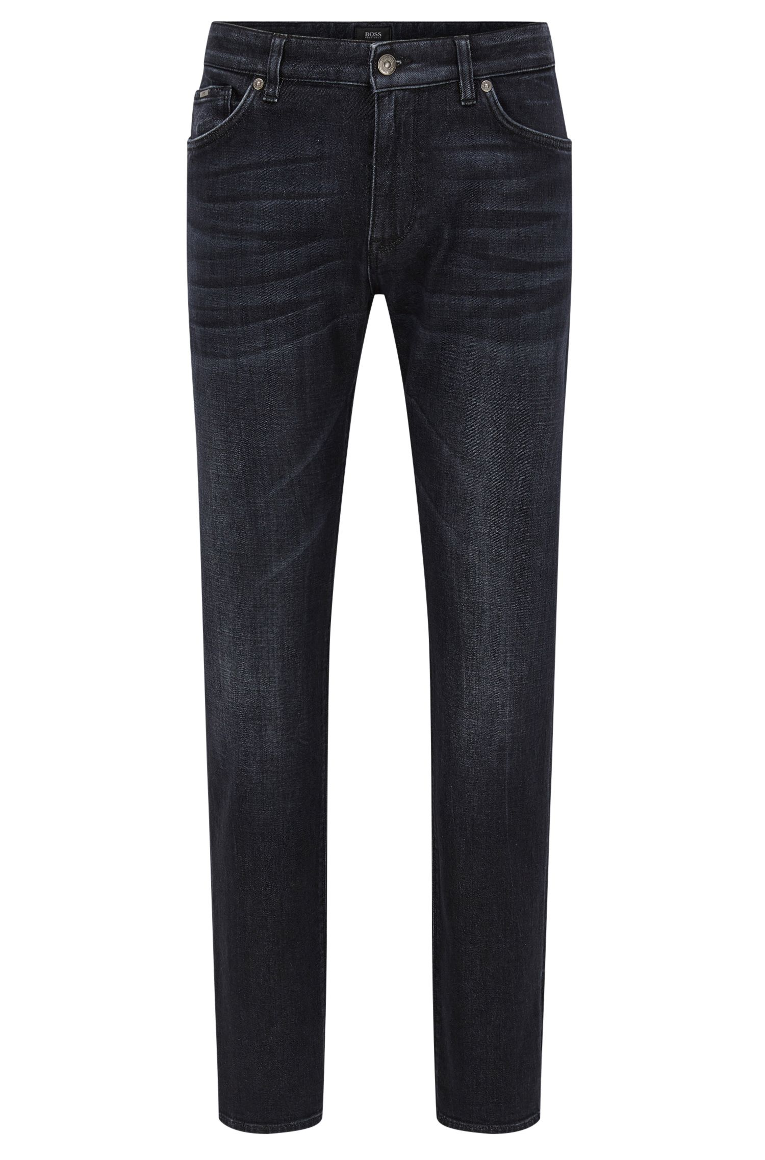 Vaqueros regular fit en denim negro con tacto de cachemira
