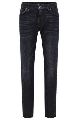Vaqueros regular fit en denim negro con tacto de cachemira, Gris marengo
