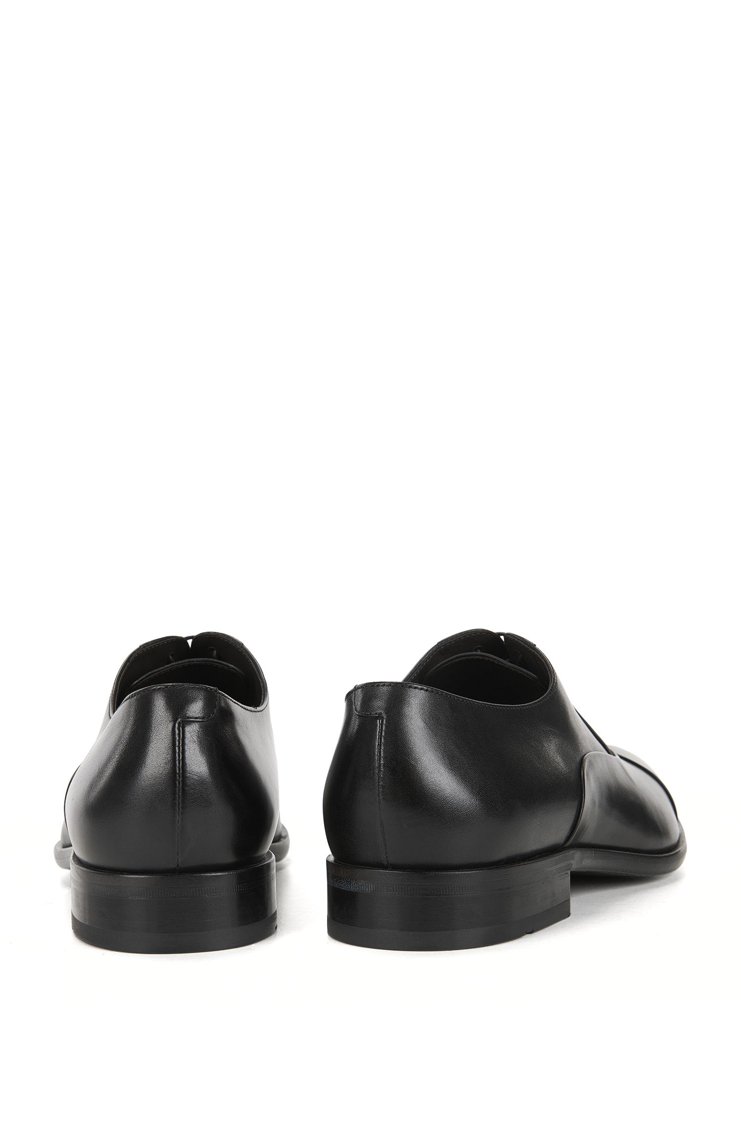 Lace-up Oxford shoes in polished leather, Black
