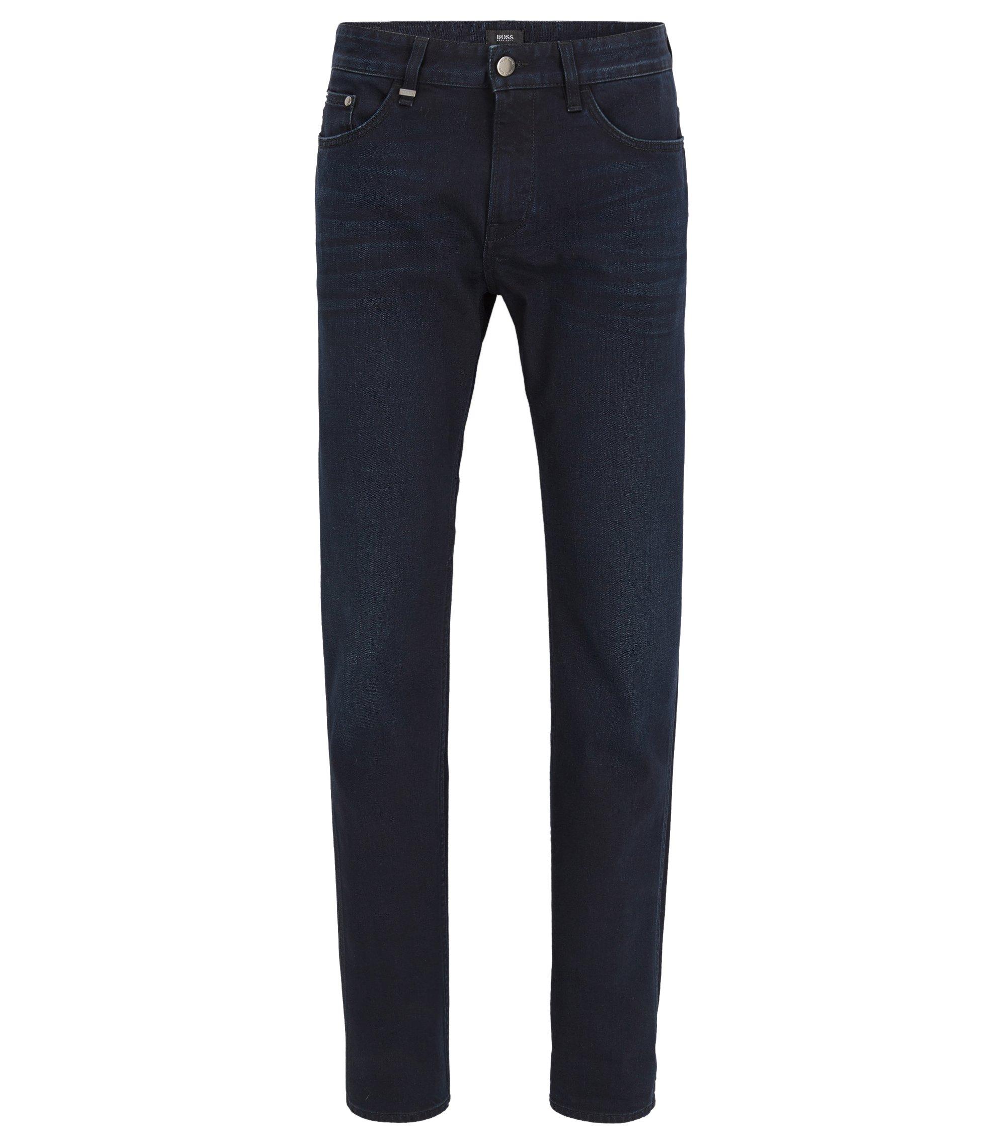Jeans slim fit in comodo denim blu-nero elasticizzato, Blu scuro