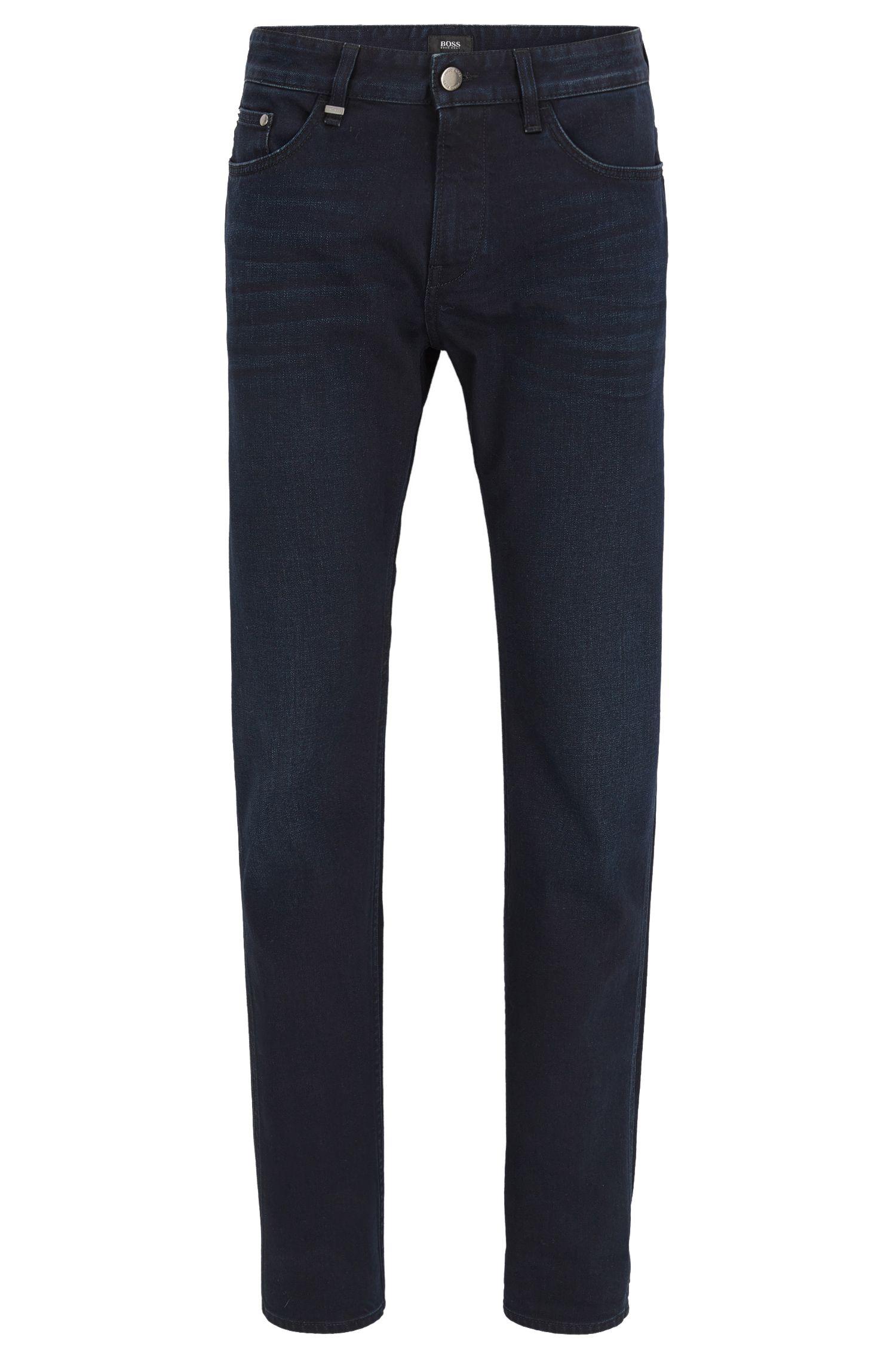 Blauw-zwarte slim-fit jeans van comfortabele stretchdenim