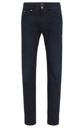 Blauw-zwarte slim-fit jeans van comfortabele stretchdenim, Donkerblauw