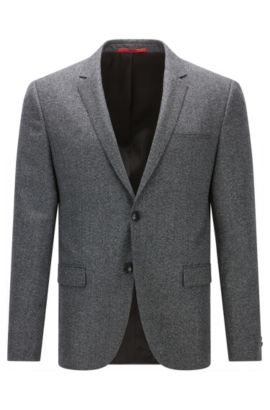 Extra-slim-fit jacket in virgin wool, Anthracite