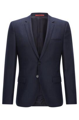 Americana extra slim fit en lana virgen, Azul oscuro