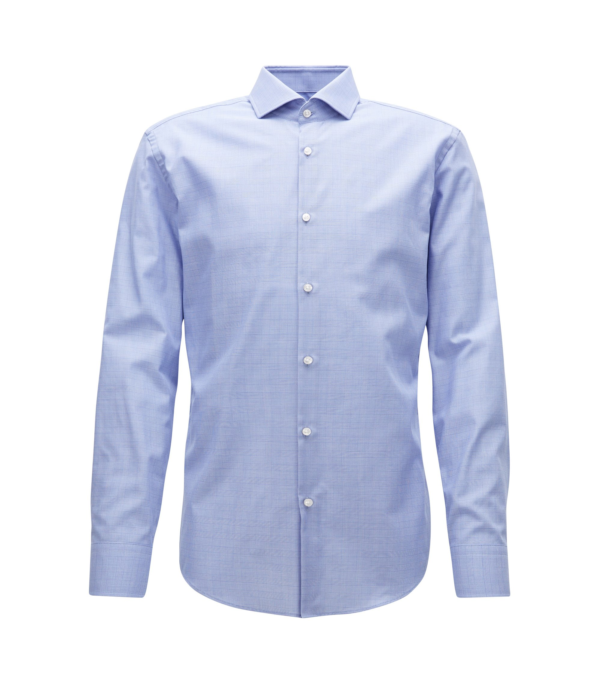 Slim-fit shirt in wrinkle-free Swiss cotton, Blue