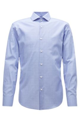 Camicia slim fit in cotone antipiega, Blu